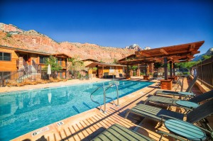 Framed against the majestic mountains of Zion National Park, our pool and jacuzzi are the best way to end the day.