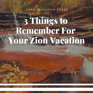 3 Things to Remember For Your Zion Vacation